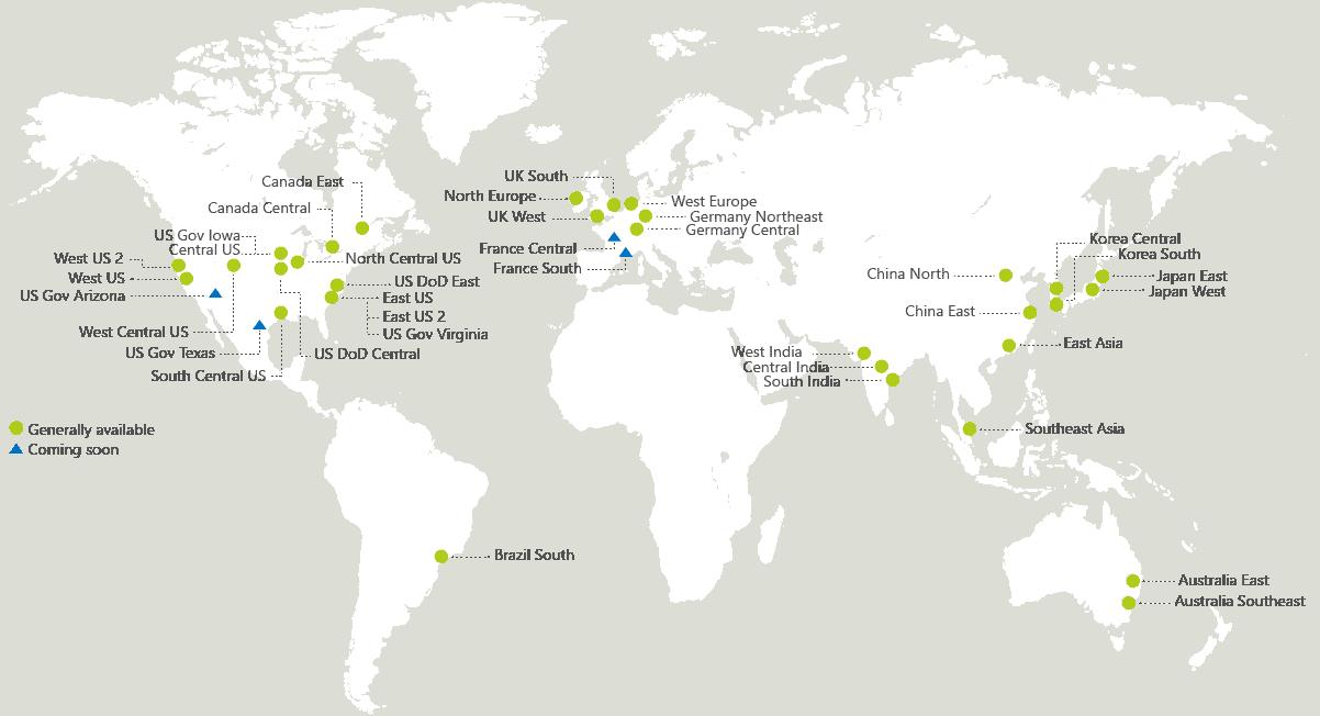 Microsoft Azure Region Map