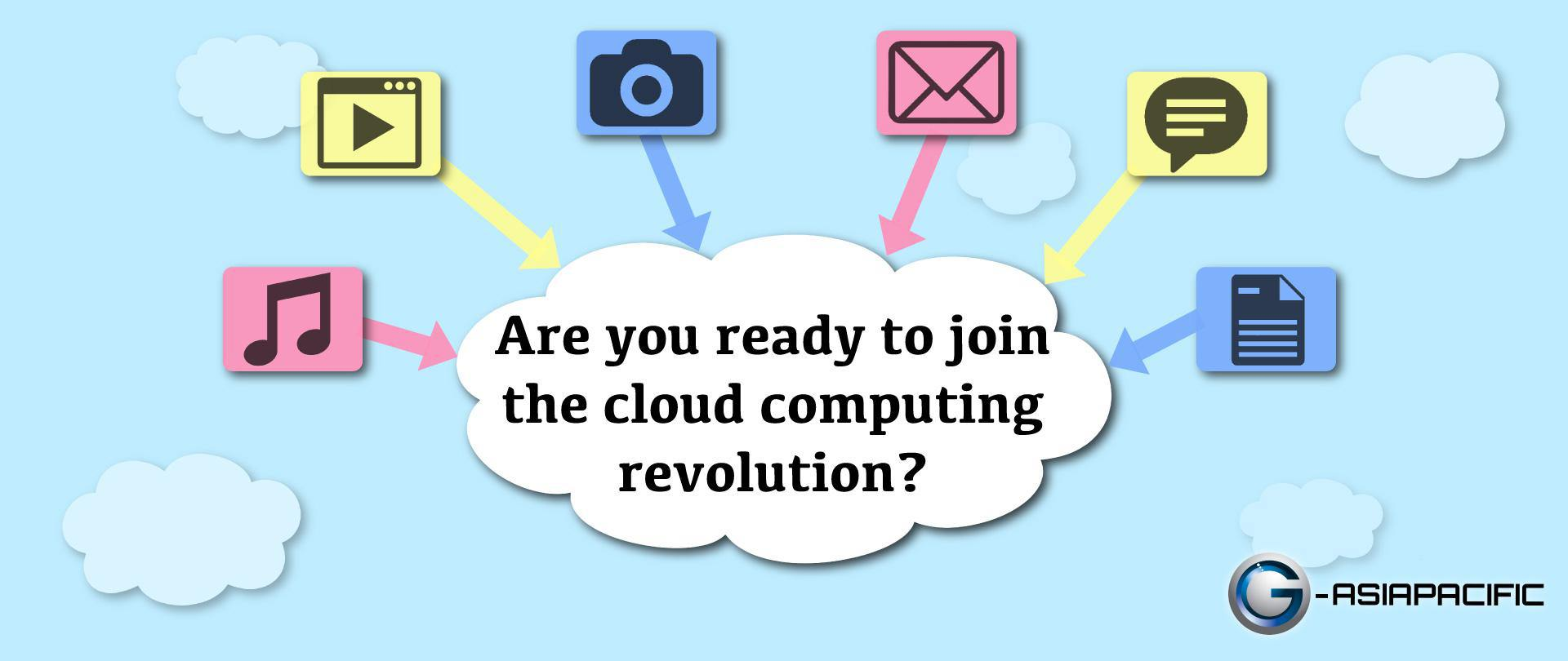the cloud with camera, mail, documents icons pointed to it