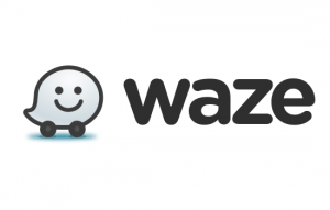 waze logo with the funny white ghost